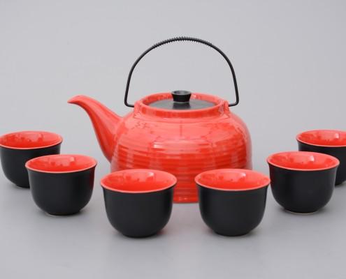 Teekanne aus Porzellan 1,5 Liter mit Teecups