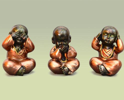 Figurenset aus Polyresin, Babymönche