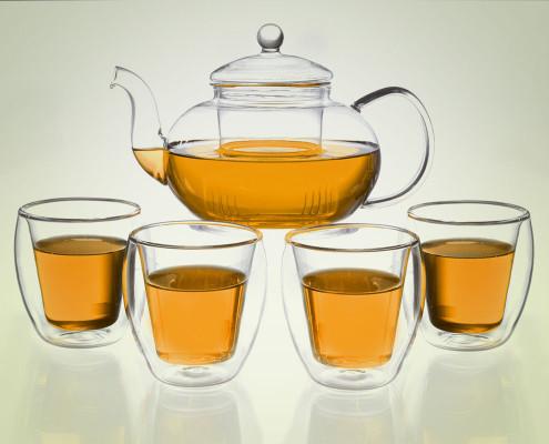 Teekanne aus Glas 1,3 Liter mit Teebechern aus Glas