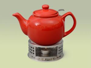Teekanne aus Keramik in rot