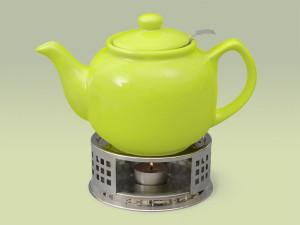 Teekanne aus Keramik in grün